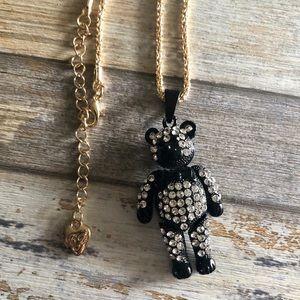 NEW✨ Betsey Johnson Black CZ Teddy Bear Necklace